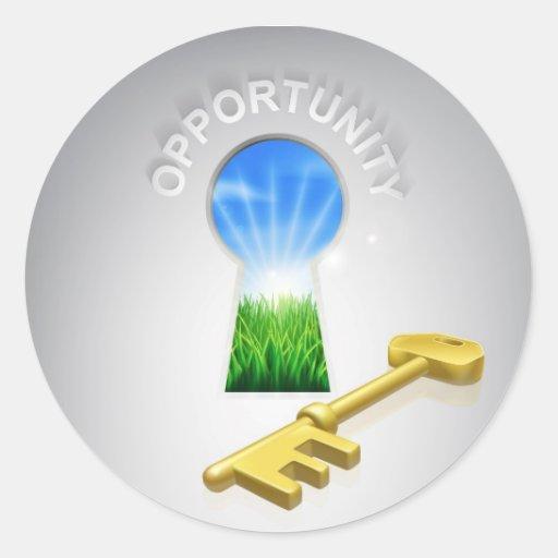 Concepto dominante de la oportunidad etiqueta redonda