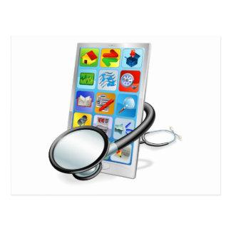 Concepto elegante de la revisión médica de la PC d Postales