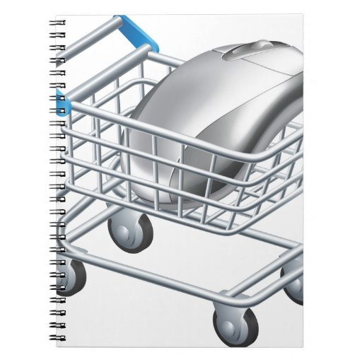 Concepto en línea de las compras del Internet Libretas Espirales
