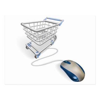 Concepto en línea de las compras del Internet Tarjetas Postales