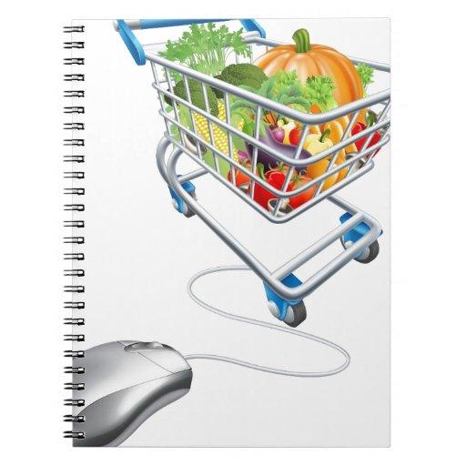 Concepto en línea de las compras libreta espiral