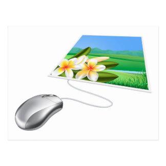 Concepto en línea del Internet de la foto del rató Postales