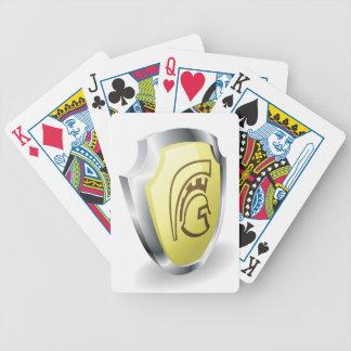 Concepto espartano de la seguridad del escudo del  cartas de juego