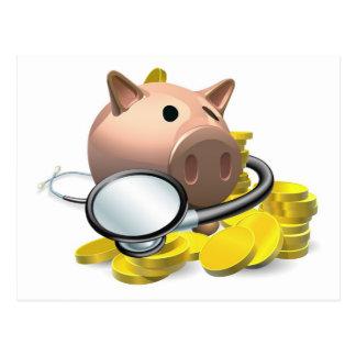 Concepto financiero de la revisión médica tarjetas postales