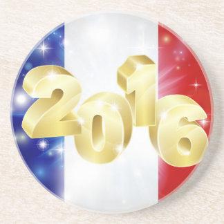 Concepto francés 2016 de la bandera posavasos de arenisca