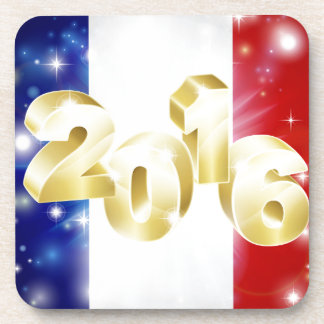 Concepto francés 2016 de la bandera posavasos de bebidas