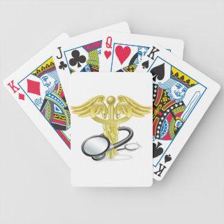 Concepto médico del estetoscopio del caduceo cartas de juego