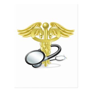 Concepto médico del estetoscopio del caduceo tarjetas postales