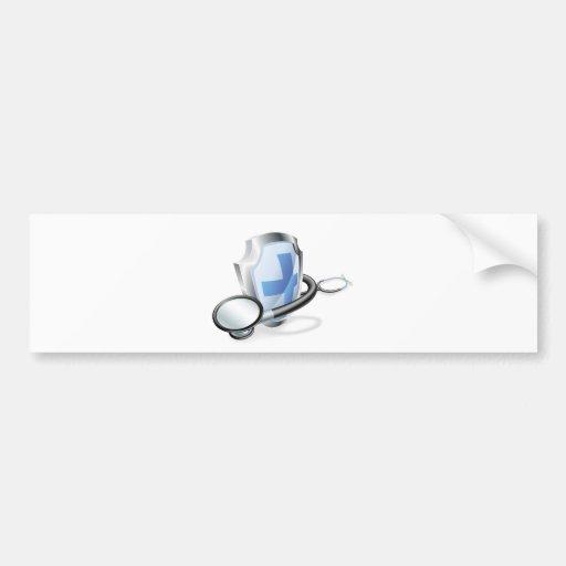 Concepto médico del estetoscopio del escudo etiqueta de parachoque