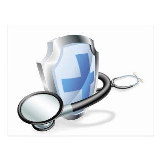 Concepto médico del estetoscopio del escudo tarjeta postal