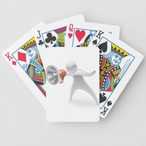 Concepto metálico del megáfono de la mascota cartas de juego