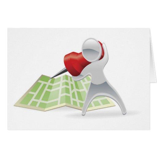 Concepto metálico del perno del mapa de la mascota tarjeta de felicitación