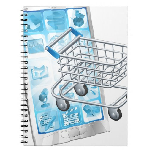 Concepto móvil del app que hace compras libreta espiral