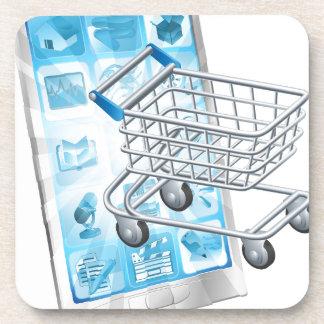 Concepto móvil del app que hace compras posavasos
