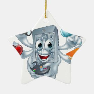 Concepto polivalente del teléfono adorno navideño de cerámica en forma de estrella