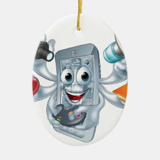 Concepto polivalente del teléfono adorno navideño ovalado de cerámica