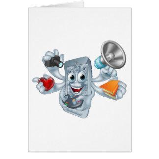 Concepto polivalente del teléfono tarjeta de felicitación