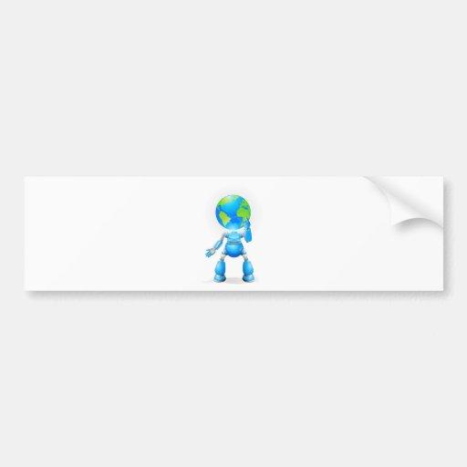 Concepto principal del robot del globo pegatina de parachoque