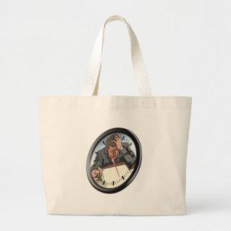 Concepto subrayado del reloj del hombre bolsa de mano