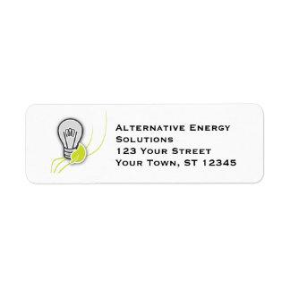 Concepto verde de la energía etiqueta de remite