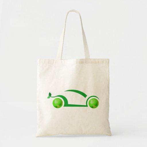 Concepto verde del coche bolsa tela barata