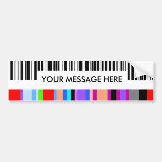 Concepto. .with de la clave de barras de color su pegatina para auto