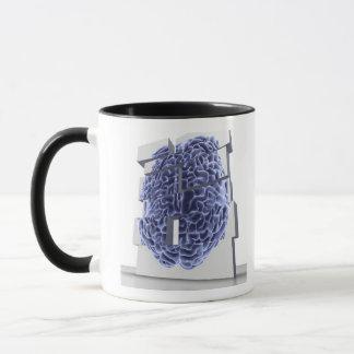 Conceptual computer artwork of building blocks mug