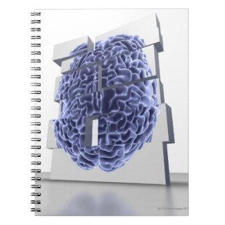 Conceptual computer artwork of building blocks note book