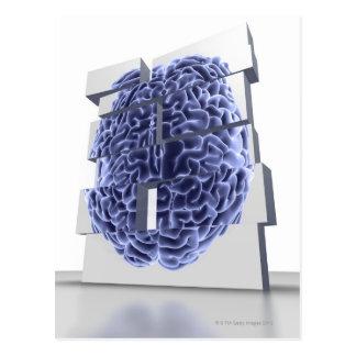Conceptual computer artwork of building blocks postcard