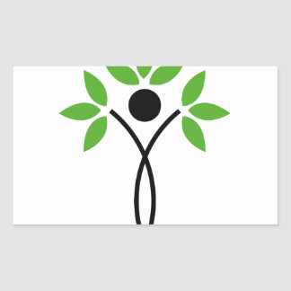 Conceptual design of a tree and a human rectangular sticker