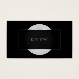 Conceptual Pearl Gray Black Silver Round Frame Vip Business Card