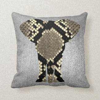 Conceptual Silver Gray Python Elephant Skin Animal Throw Pillow
