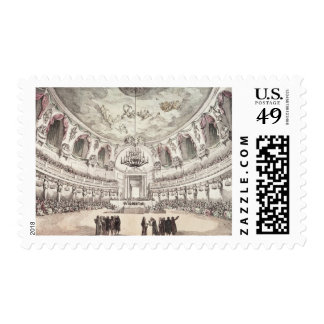 Concert Hall in Venice, 18th century (coloured eng Postage