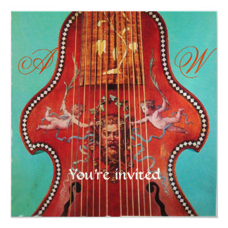 CONCERT, MUSIC & WEDDING,Monogram Red Blue Gold Personalized Invite