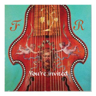 CONCERT, MUSIC & WEDDING,Monogram Red Blue Custom Announcements