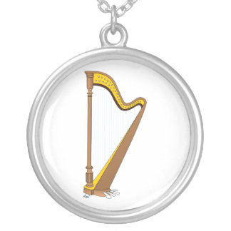 Concert Pedal Harp Graphic Design Silver Plated Necklace