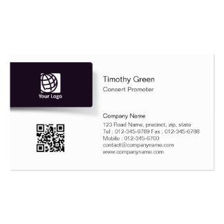 Concert Promoter Black Tab Logo Business Card