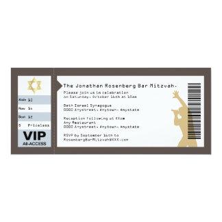 Concert Ticket Bar Mitzvah Invitation in Brown