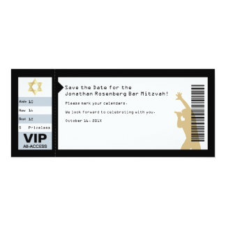 Concert Ticket Bar Mitzvah Save the Date in Black Card