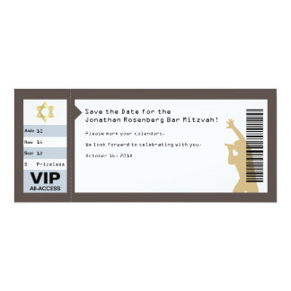 Concert Ticket Bar Mitzvah Save the Date in Brown Card