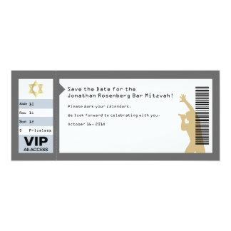 Concert Ticket Bar Mitzvah Save the Date in Gray Card