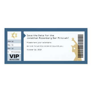 Concert Ticket Bar Mitzvah Save the Date in Navy Card