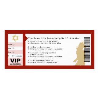 Concert Ticket Bat Mitzvah Invitation in Crimson