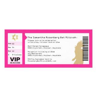 Concert Ticket Bat Mitzvah Invitation in Pink