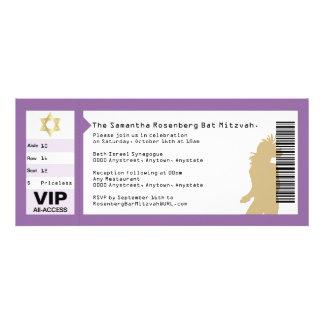 Concert Ticket Bat Mitzvah Invitation in Purple