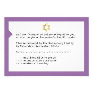 Concert Ticket Bat Mitzvah Reply Card in Purple Invites