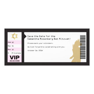 Concert Ticket Bat Mitzvah Save the Date in Black Announcements