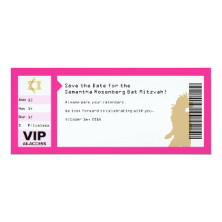 Concert Ticket Bat Mitzvah Save the Date in Pink Card