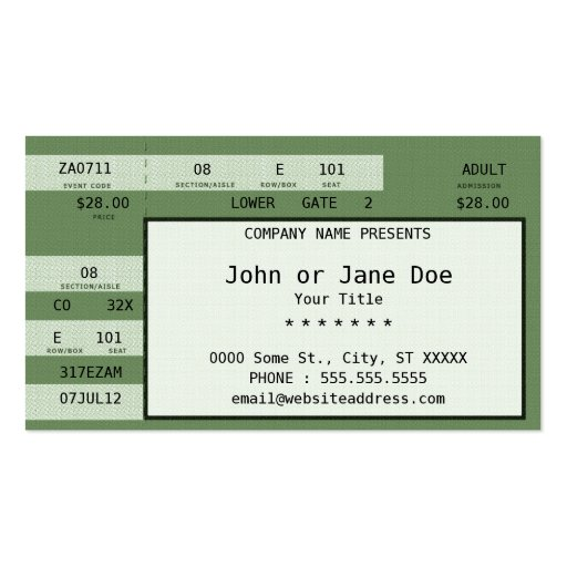 concert ticket business card template