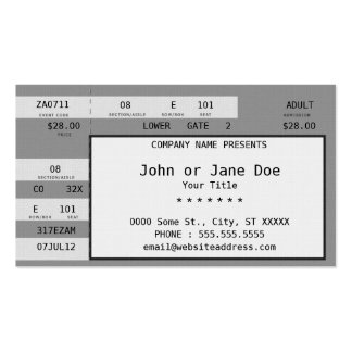 concert ticket business card templates